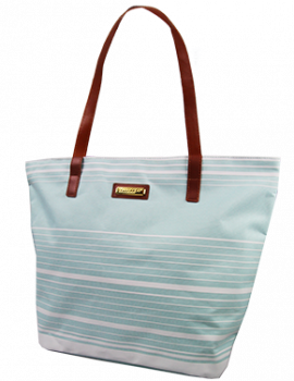 Sunescape Striped Beach Tote w/faux leather handle
